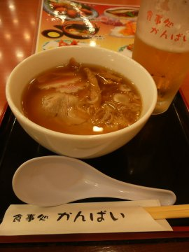 ミニ醤油ラーメン&生ビール小@食事処かんぱい