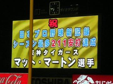 祝 日本プロ野球新記録 シーズン最多211安打達成 阪神タイガース マット・マートン選手